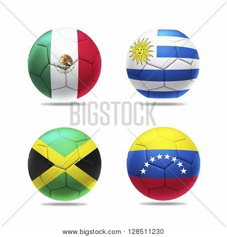 3D Illustration soccer ball with group C teams flags, isolated on white