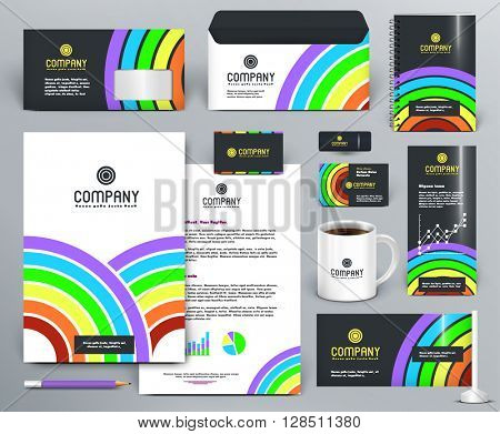 Professional branding design kit with color rainbow, circles, lines, sectors on dark and white background. For printing, entertainment, cinema. Business stationery mock-up with logo. Editable vector.