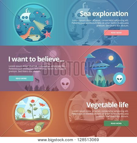 Sea exploration. Science of life. Natural science. Ufology. Flying saucer. Alien abduction. Vegetable life. Botany study. Science of plants. Education and science banners set. Vector design concept.