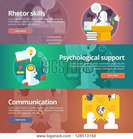 Orator skills. Psychological support. Art of speaking. People communication. Social relations and people communication banners set. Vector design concept.