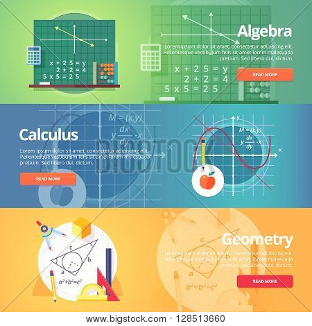 Mathematical science. Algebra. Calculus. Geometry. Exact science. Education and science banners set. Vector flat design concept.