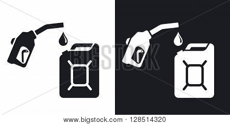 Gun for fuel pump and canister of fuel vector icon. Two-tone version on black and white background