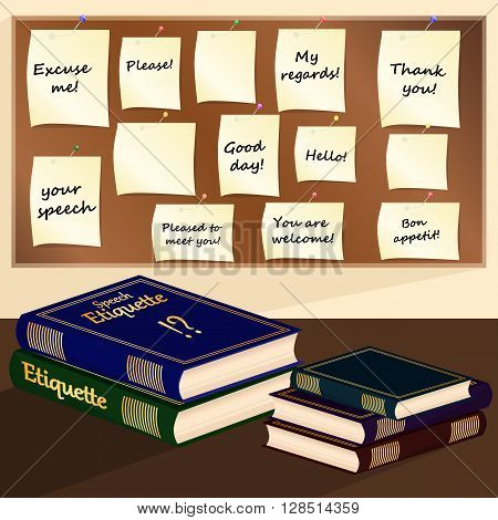 Books and paper stickers of speech etiquette on a bulletin board. Vector illustration.
