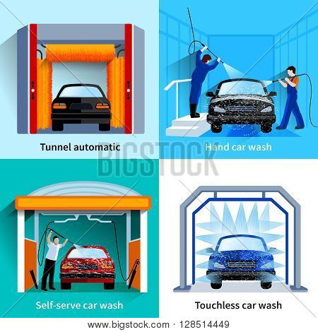 Car wash center automatic touchless and self service facilities 4 flat icons square composition abstract vector isolated illustration poster
