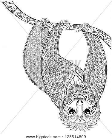 Vector zentangle Sloth print for adult coloring page. Hand drawn artistically ethnic ornamental patterned illustration. Animal collection. Isolated Sketch for tattoo, posters, t-shirt design.