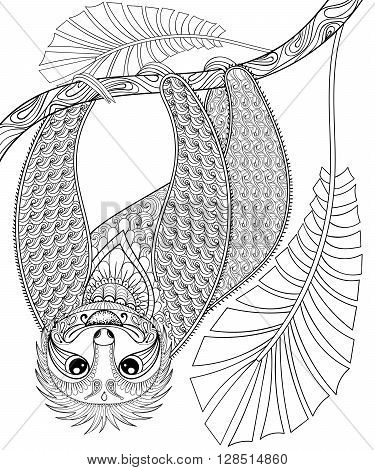 Vector zentangle three-toed sloth climbing on a branch, print for adult coloring page A4 size. Hand drawn artistically ethnic ornamental patterned illustration. Animal collection for tattoo, t-shirt design.