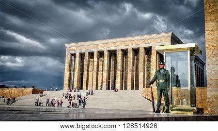 Ankara, Turkey, 25 October, 2012: Guardsman of Ataturk Mausoleum, Anitkabir, monumental tomb of Mustafa Kemal Ataturk, greatest leader,first president of Turkey in Ankara, Turkey