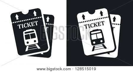 Vector train tickets icon. Two-tone version on black and white background