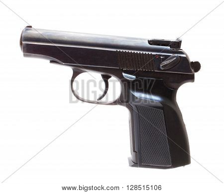 Semi automatic pistol that is isolated on white