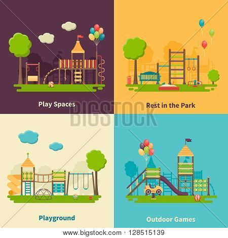 Color flat composition 2x2 depicting different outdoor playground and play spaces for rest in the park and games vector illustration