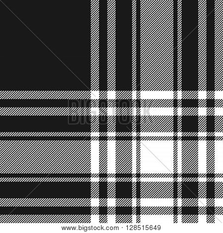 Menzies tartan black kilt fabric texture seamless pattern.Vector illustration. EPS 10. No transparency. No gradients.