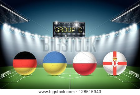 Soccer Stadium with group C team flags. euro 2016