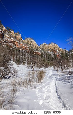 West Fork Oak Creek trail near Sedona, Arizona in winter