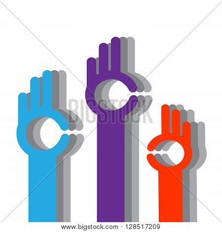 color hands. Color hands and a symbol ok on a white background