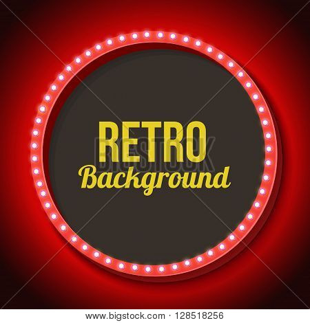 Round vintage frame with lights. Red volumetric 3d retro frame with lamp and black background for text messages, promotions, discounts. Red neon light falls on the black wall. illustration