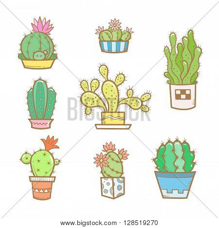 Set different cartoon cacti in pots. Eight species of cacti. Vector image. Doodle style.