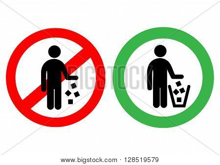 No littering sign in vector. It is forbidden to throw garbage, we can not throw garbage, no debris
