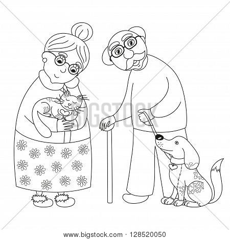 Cute darling grandmother and grandfather, granny with cat and old man with dog on leash, vector illustration, coloring book page for children