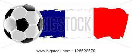 Soccer ball with a flag of France - illustration