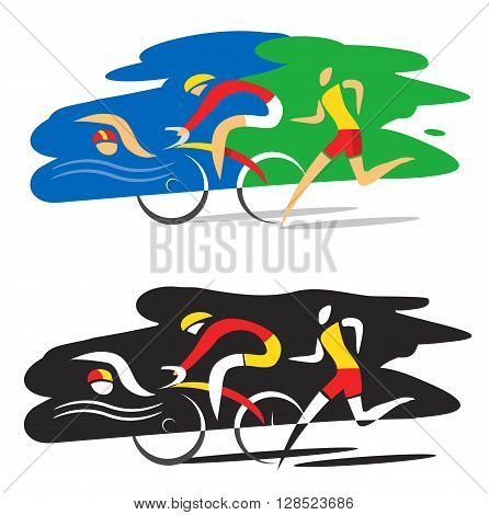 Three triathlon athletes on the colorful and black background. Vector available.