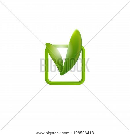 Realistic leaves chek icon. Vector illustration. Leaf tag.