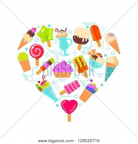 Ice cream collection. Flat icons in heart shaped background design.