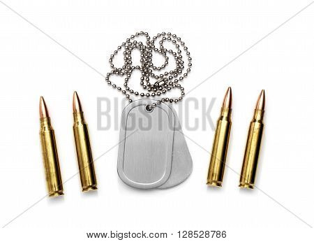 Isolated Dog Tag with bullets isolated on a white background