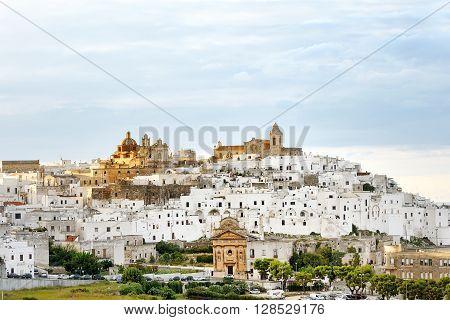 panoramic view of the white city Ostuni Apulia mediterranean southern Italy