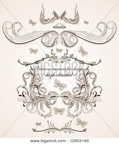 Set of vector ornates for design.