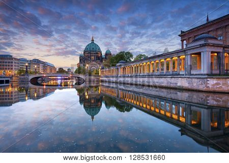 Berlin. Image of Berlin Cathedral and Museum Island in Berlin during sunrise.