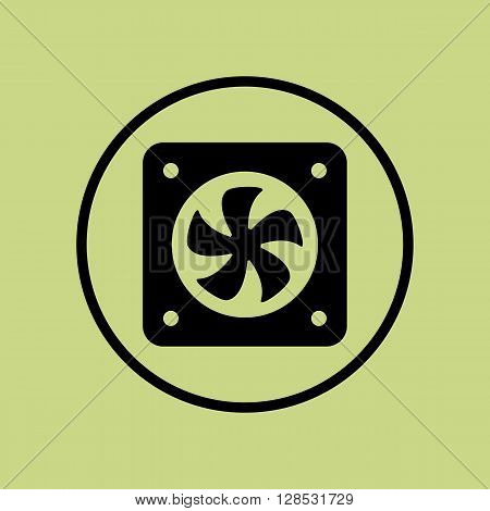 Fan Icon In Vector Format. Premium Quality Fan Symbol. Web Graphic Fan Sign On Green Circle Backgrou