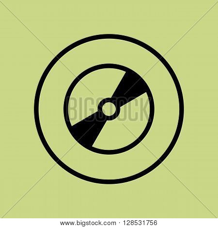 Cd Icon In Vector Format. Premium Quality Cd Symbol. Web Graphic Cd Sign On Green Circle Background.