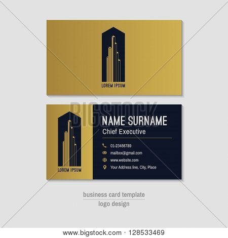 Abstract horizontal vector business card template. Gold blue business card layout. Corporate business card background. Modern visit card with abstract logo and icons. Vector visiting card.
