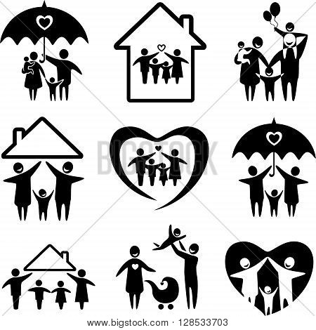 Big set of family icons. Happy family concepts: father mother daughter and son together.