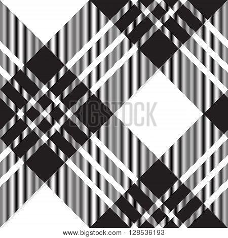 Macgregor tartan black white diagonal seamless pattern.Vector illustration. EPS 10. No transparency. No gradients.
