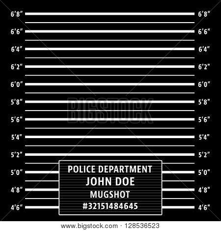 Police mugshot. Police lineup on black background. Vector illustration