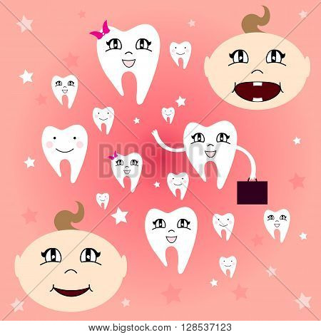 Baby teeth. The first baby teeth. Happy child with healthy teeth. Vector illustration.