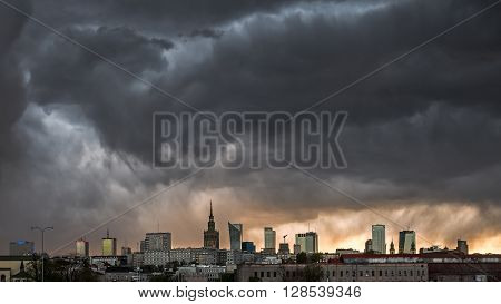 Storm clouds over center of Warsaw at dusk