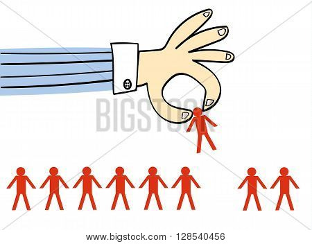 Giant hand in a business shirt picking up one person from a row of identical people drawn as stick men