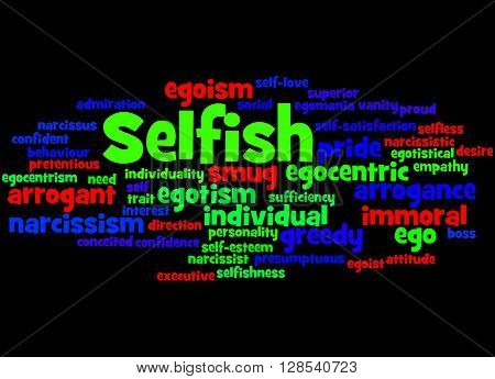 Selfish, Word Cloud Concept 6