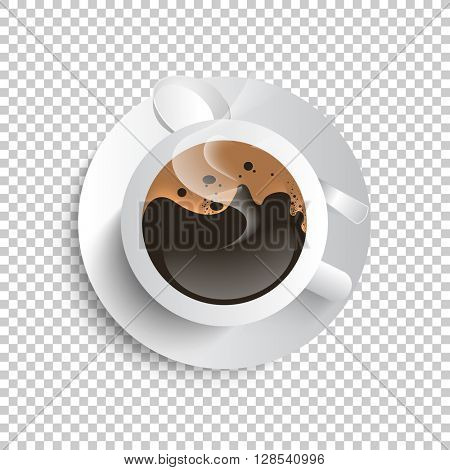isolated brown coffee on white cup, eps10 vector
