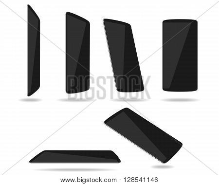 Black thin smartphones face different foreshortening. Vector illustration. EPS 10. No transparency. No gradients. Raw materials are easy to edit.