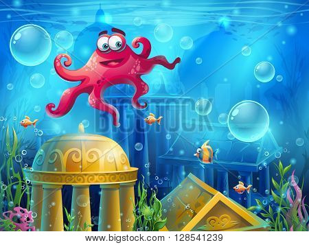 Atlantis ruins cartoon octopus - vector background illustration screen to the computer game. Bright background image to create original video or web games graphic design screen savers.