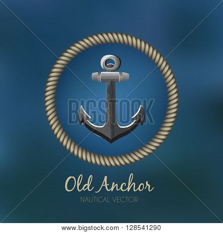 Anchor & Rope sailing badge / business sign template vs blue ocean background. Nautical banner with rope frame. Corporate identity template. Editable, layered vector illustration. Sample text.