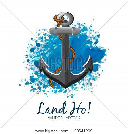Nautical banner with anchor & rope on a blue grunge watercolor background. Nautical emblem of Anchor & Rope with symbolic sea wave image. Editable, layered vector illustration. Sample text.
