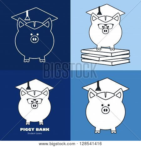 Piggy Bank in Graduate Hat vector sign set in trendy line style. Educational icon business sign template. Student loan financial aid money saving plan for high education concept. Sample text. Layered editable design