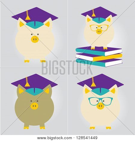 Piggy Bank in Graduate Hat vector sign set. Educational icon business sign template. Student loan financial aid money saving plan for high education concept. Sample text. Layered editable design