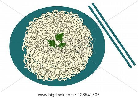 Blue plate of noodles and sticks on white background, vector