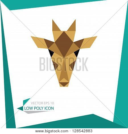 low poly animal icon. vector giraffe