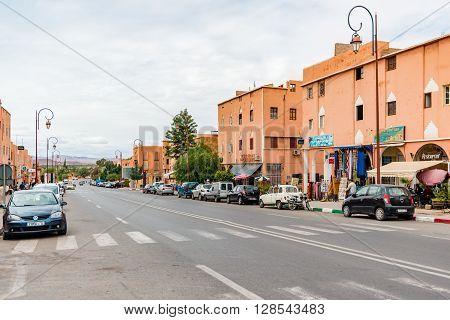 OUARZAZATE MOROCCO - OCTOBER 23 2015: Avenue Mohammed V the main street in central Ouarzate Morocco.